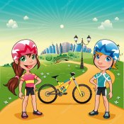 Depositphotos_10132632-stock-illustration-park-with-young-bikers